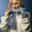 Blonde girl in winter clothes - Stock Photo