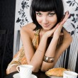 Portrait of the woman in restaurant — Stock Photo