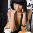 Beautiful girl in the cafe — Stock Photo