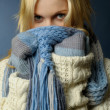 Blonde girl in winter clothes — Stock Photo #1618085
