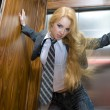 Blonde in the lift — Stock Photo