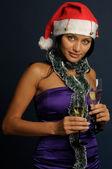 Beautiful woman drinking champagne — Stock Photo