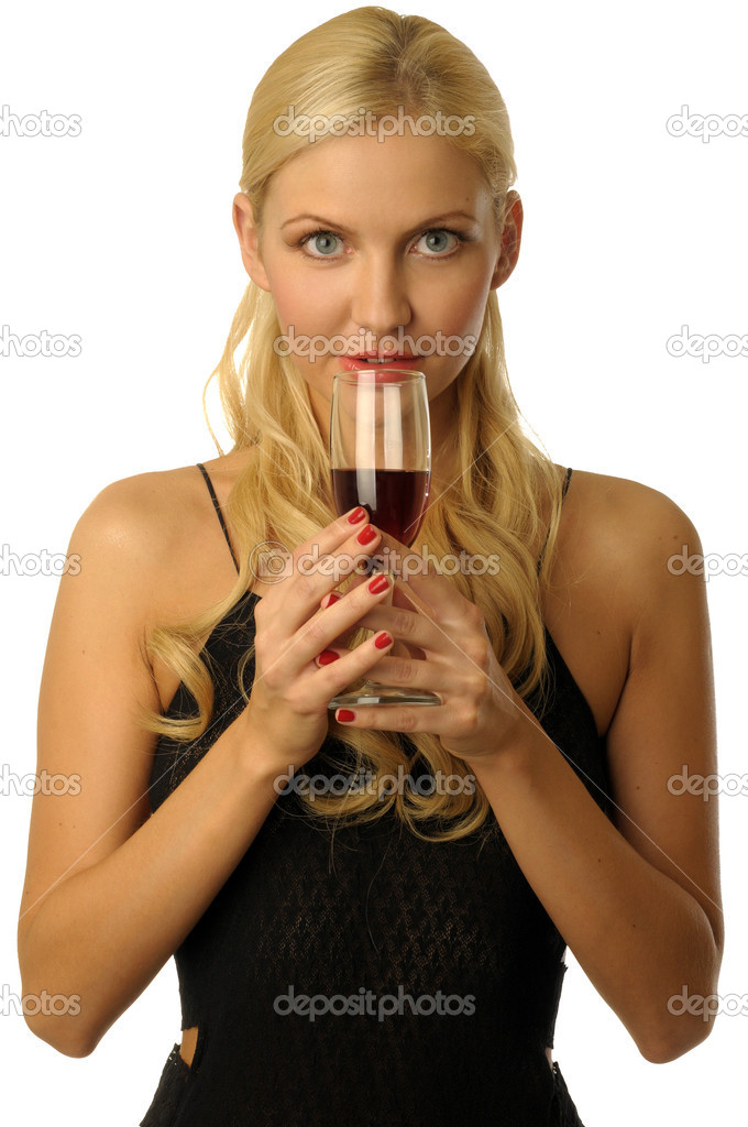 Beautiful blonde girl in evening dress is drinking red wine — Stock Photo #1617194
