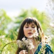 Young beautiful girl on a meadow — Stock Photo