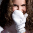 Beautiful girl in white mittens. — Foto de Stock