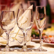 Glasses for wine and champagne - Stock Photo
