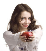 Girl and red apple — Stock Photo