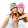 Portrait of two girlfriends in embraces — Stock Photo
