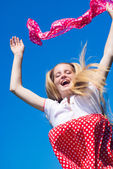 Happy jumping girl — Foto Stock