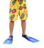 Legs in flippers — Stock Photo