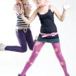 Two jumping punk girls — Stock Photo