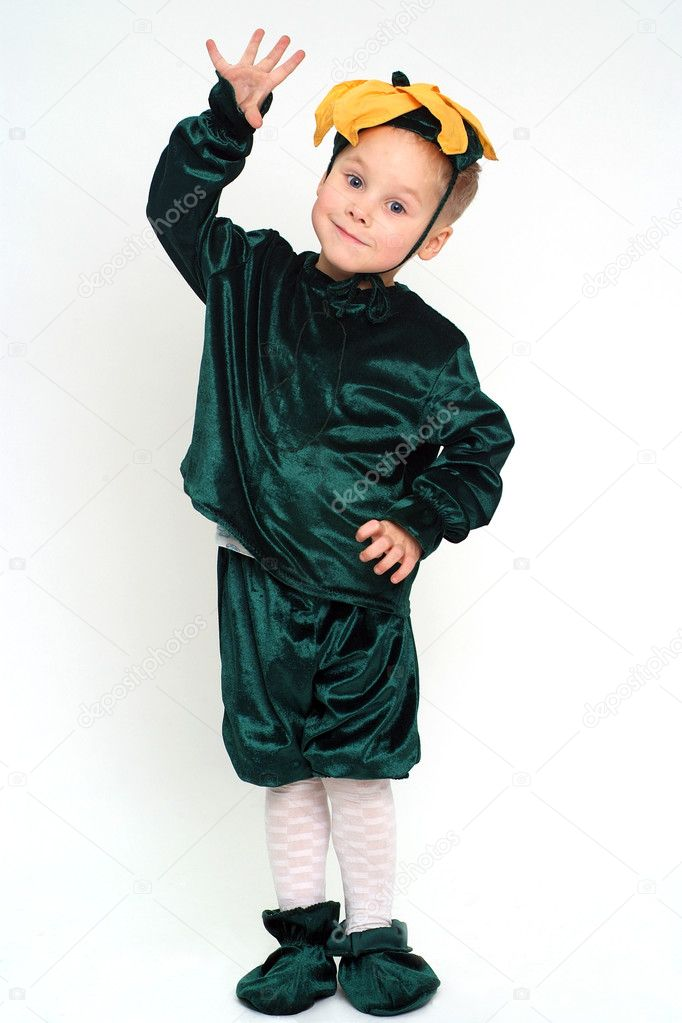 Little grimacing boy in costume studio shot — Stock Photo #1471642