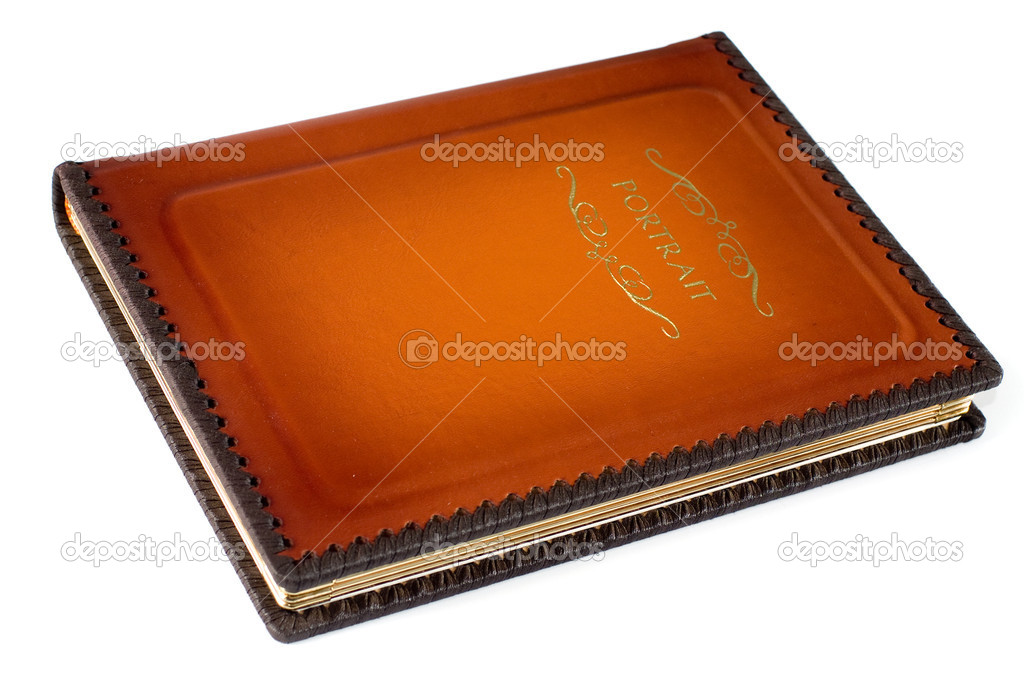 Closed leather photo album at white background — Stock Photo #1585748
