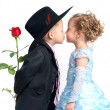 Romantic kiss - Stock Photo