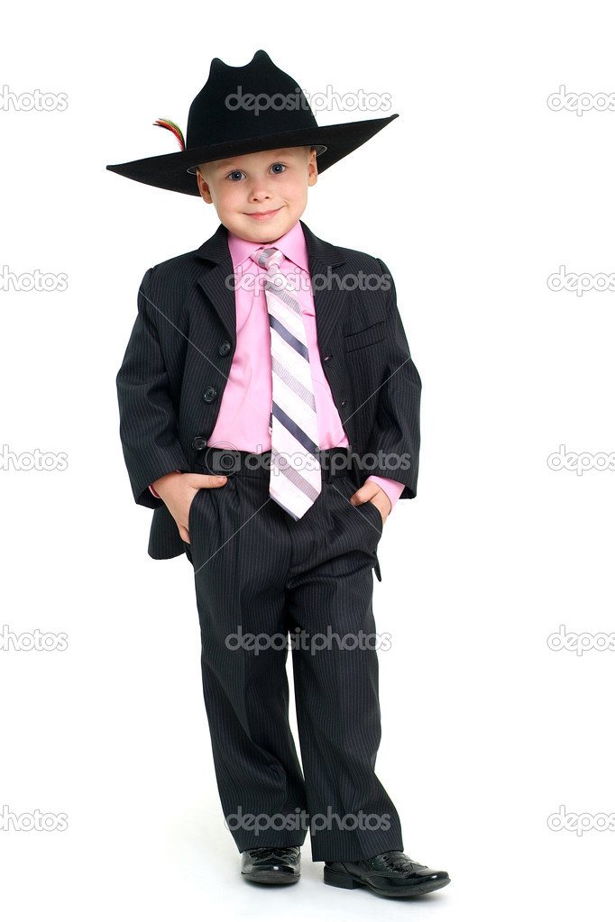 Little handsome boy in elegant suit and hat — Stock Photo #1608066