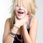 Punk girl choking herself — Stock Photo