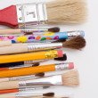 Pencils and brushes - Stock Photo