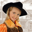 Closeup cowgirl portrait — Stock Photo