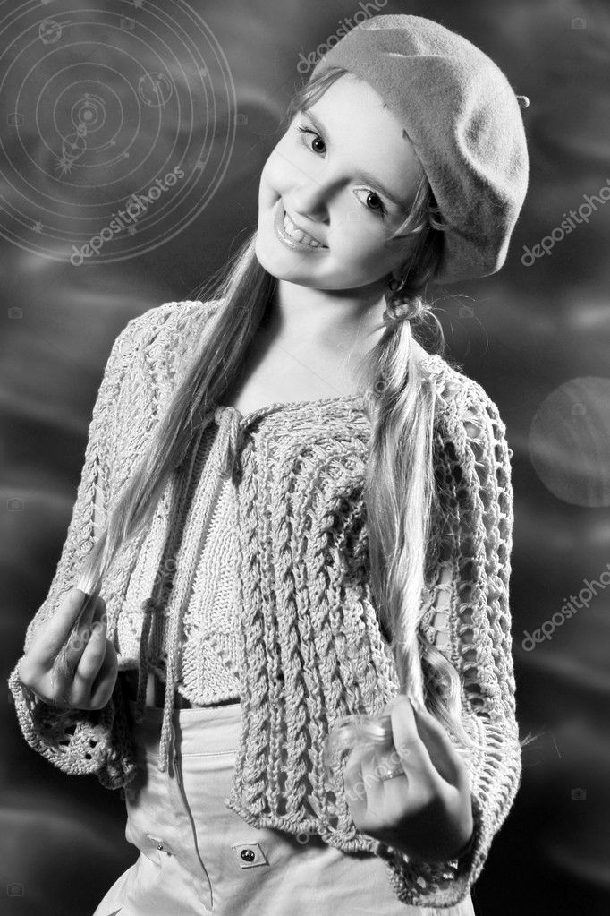 Monochrome art portrait of young smiling pretty girl  Stock Photo #1741737