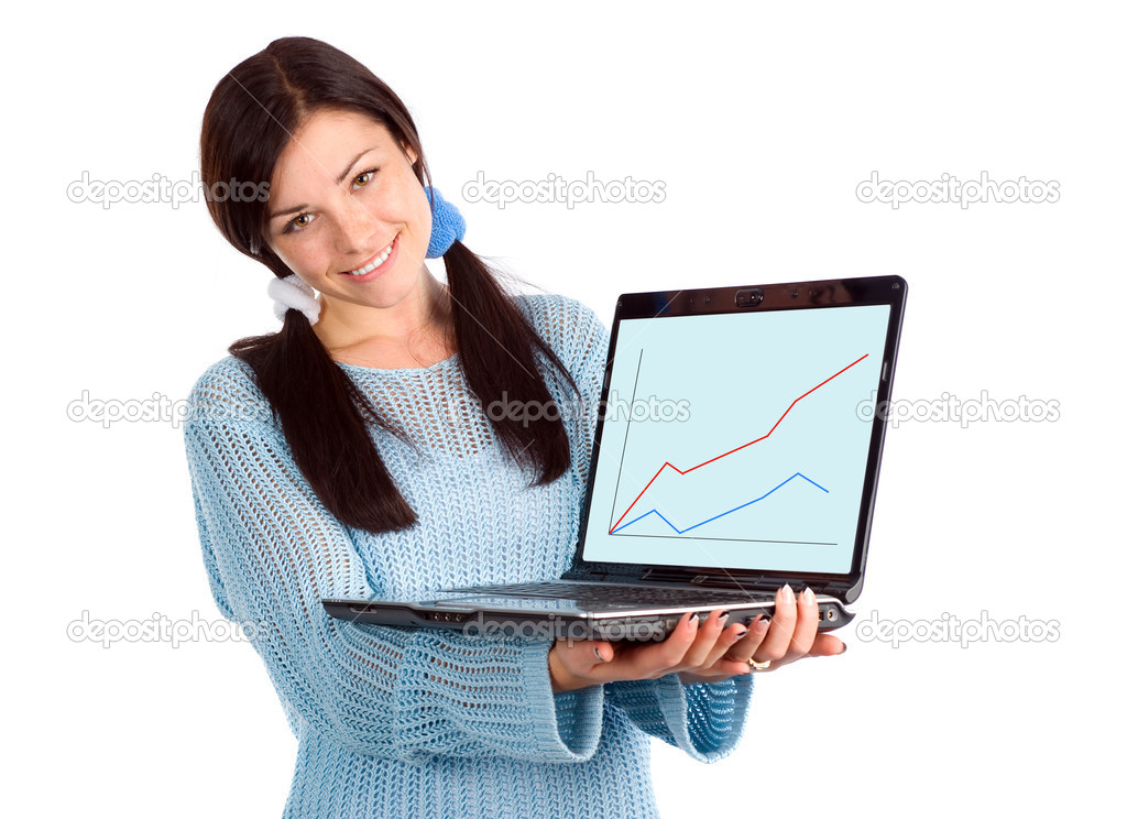 Attractive brunette showing laptop with diagram — Stock Photo #1741988