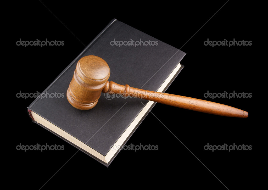 Judge's gavel legal book isolated on black — Stock Photo #1453249