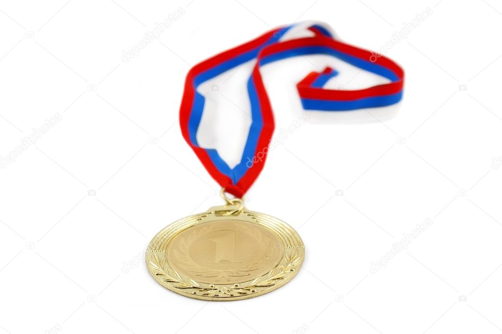 Gold medal isolated on white  — Stock Photo #1453288