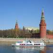 Moscow Kremlin wall, Moscow river - Stock Photo