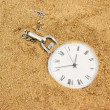 Old pocket watch buried in sand — Stock Photo #1574536