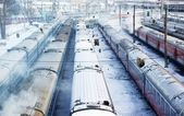 Winter wagons with smoke — Stock Photo