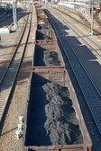 Coal wagons on railway track — Stock Photo