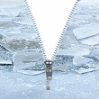 Unzipped winter icy background — Stock Photo