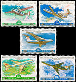 The Soviet stamps on an aircraft theme — Stock Photo