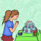 Girl look on festive cake — Stock Photo