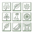 Stock Photo: Floral icons