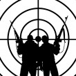 Stock Photo: Silhouettes of two men