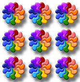 Illustration of rainbow flowers — Stock Photo