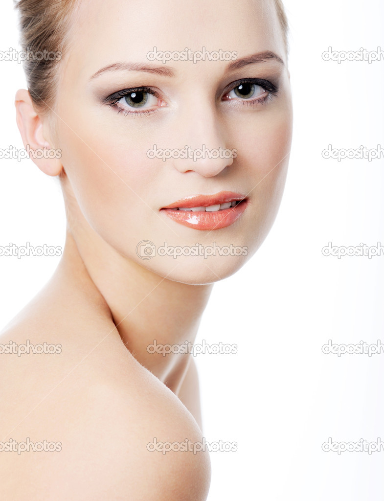 Perfect beautiful  candid female face - isolated  Stock Photo #1409210