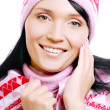 Happy adult female in the winter hat — Stock Photo #1460110