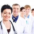 Mature female doctor group colleagues — Stock Photo