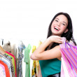Laughing happy woman shopping — Stock Photo