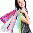 Attractive woman posing shopping bags — Stock Photo