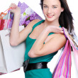 Beautiful smiling woman shopping bags — Stock Photo