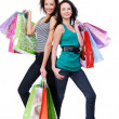Two happy beautiful women purchases — Stock Photo #1463532
