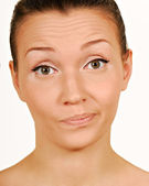 Wantrouwen. maken van een gezicht. — Stockfoto