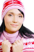 Beautiful smiling woman winter hat — Stock Photo