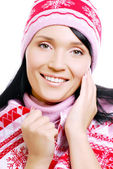 Happy adult female in the winter hat — Stock Photo