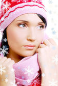 Beautiful glamour woman in warm winter — Stock Photo