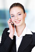 Cute telephone operator — Stock Photo