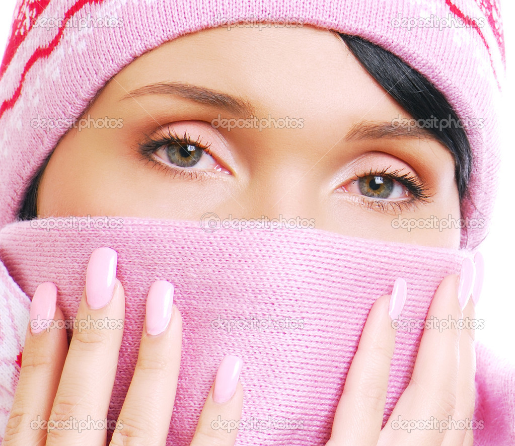 Unhealthy view of young woman having a cold. Cover by scarf  Stock Photo #1460188