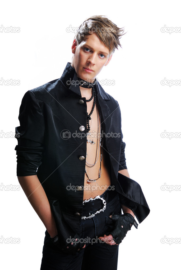 Young man with creativity stylish hairstyle in the hard-rock image on a white — Stock Photo #1460602